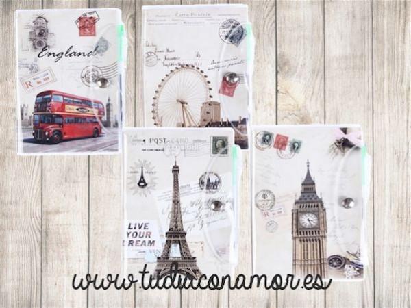 Libretas retro city con imágenes de París y Londres, ideales para llevar en el bolso y para regalar como detalle de boda a vuestras invitadas