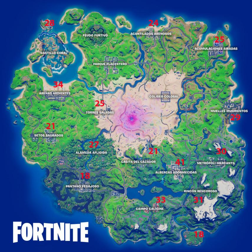 Places with the most chests around the map