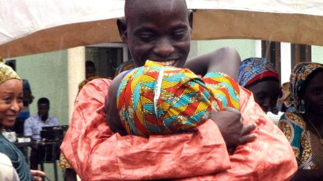 Chibok girls: Freed students reunite with families in Nigeria
