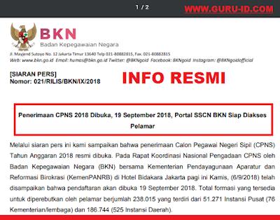 gambar jadwal pendaftaran cpns 2018 dari BKN