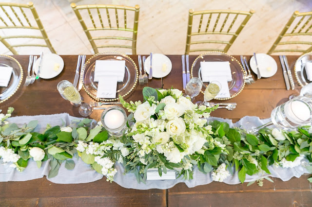 wedding reception decoration with long centerpiece