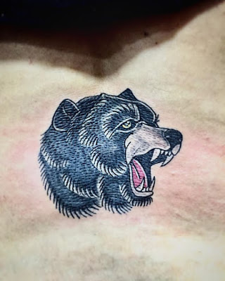 American Traditional Bear Head Tattoo