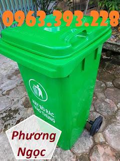 Thùng rác nhựa HDPE 120L, thùng rác công cộng, thùng rác 2 bánh xe Ubi1520230720