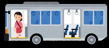 バスを降りる人のイラスト(女性・前のドア)