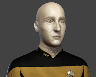 A 3d render of a bald Commander Data, in uniform.
