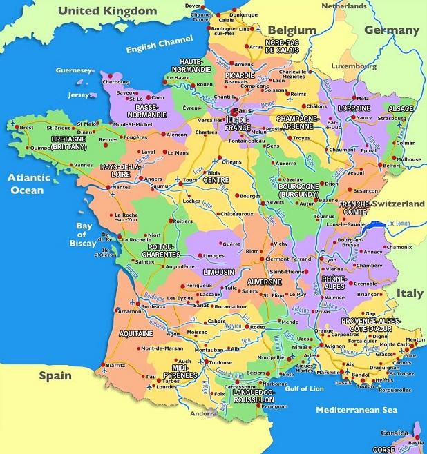 karta på frankrike Karta över Europa Politiska Regionen karta på frankrike