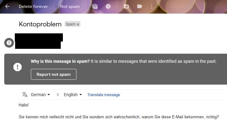 Spam Mail Erpressung
