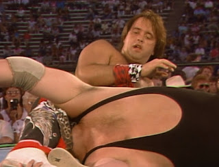 NWA Great American Bash 1986 (Charlotte, July 5th) - Robert Gibson locks Black Bart in a head scissors