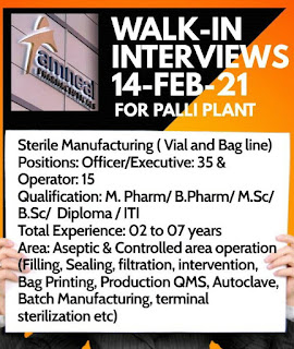 ITI/ Diploma/ B.Sc/M. Pharm/ B.Pharm  Job Vacancy Walk In Drive For Amneal Pharmaceuticals Pvt. Ltd.