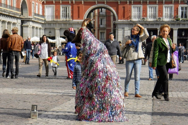 3 days in Madrid Itinerary: busker on Plaza de Mayor