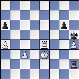 Posición después de 53.Te4 de la partida de ajedrez Pomar vs. Eliskases, I Torneo Internacional de Ajedrez Costa del Sol 1961