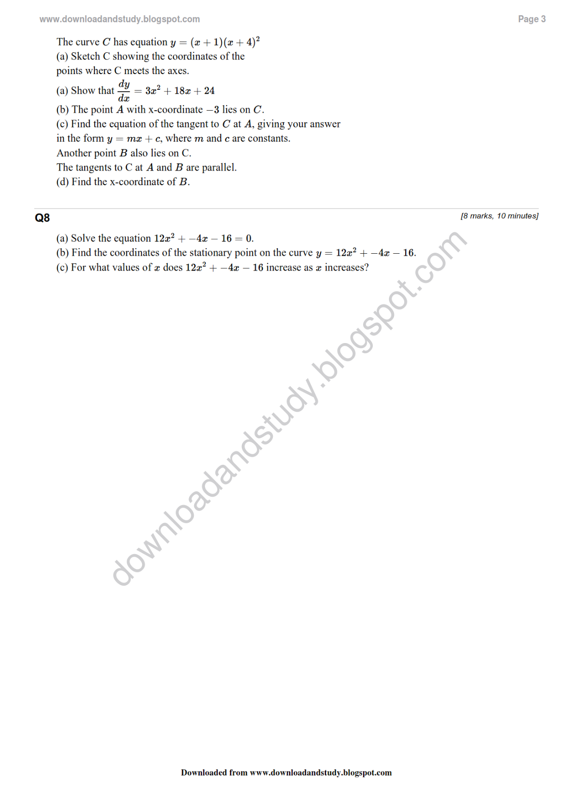 Download Amp Study As Maths Differentiation Revision Test Worksheet Solved