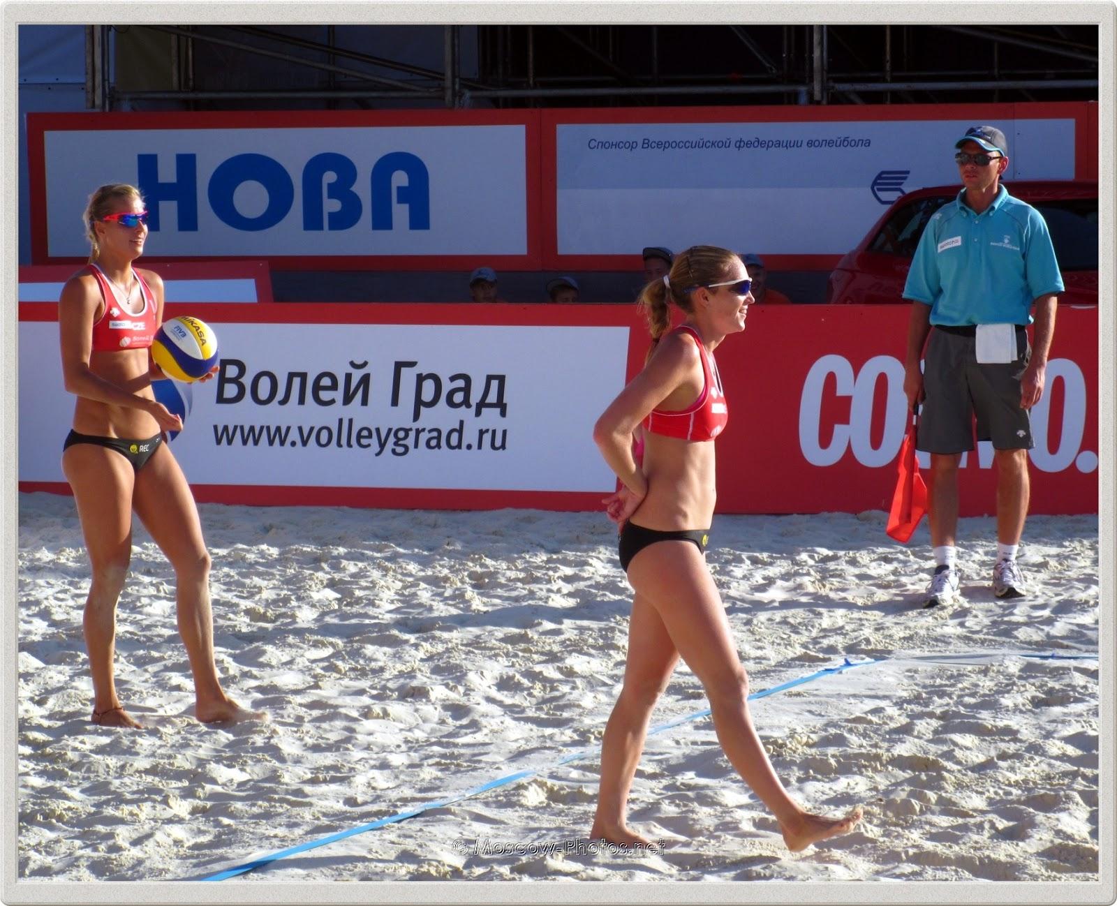 Serve of the Czech Beach Volleyball Team