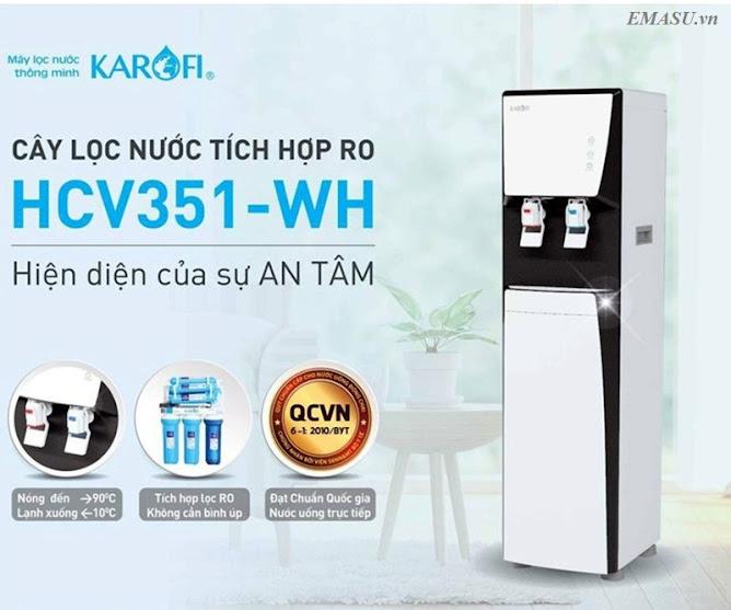 Cây lọc nước nóng lạnh Karofi HCV351-WH tích hợp hệ thống lọc nước RO 6 cấp lọc