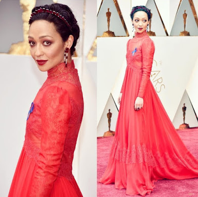 Ruth Negga and her drop earrings.