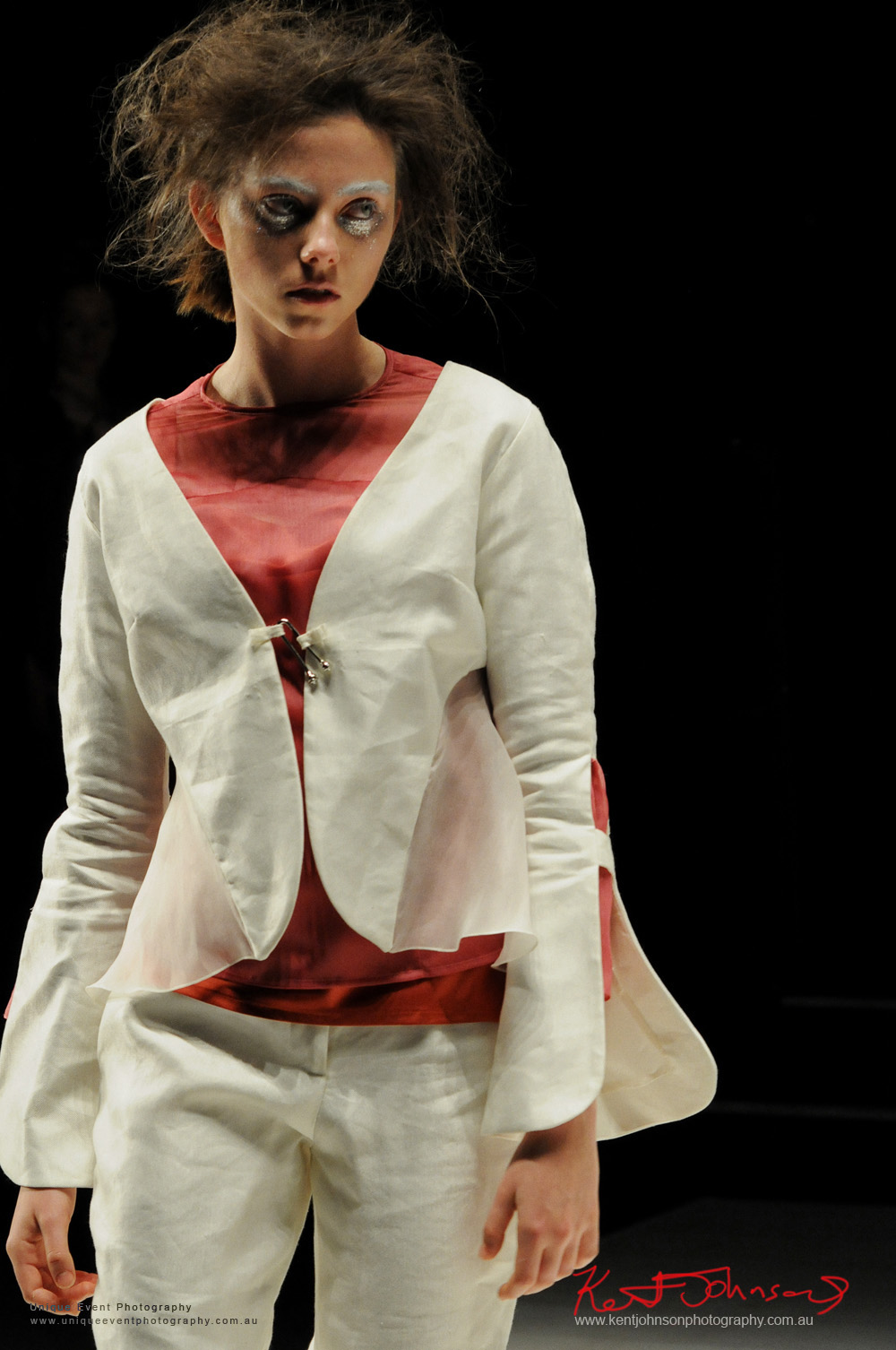 Minimalist white jacket and pants with red top. Gemma Saccasan women's wear, Designers from Raffles International Showcase 2016 - MBFWA  Photographed by Kent Johnson.