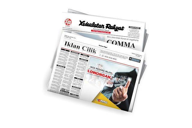 pasang iklan lowongan di koran Kedaulatan Rakyat