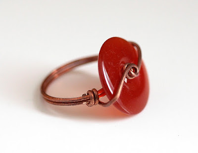 Hot Off The Bench - Carnelian Donut Copper Ring