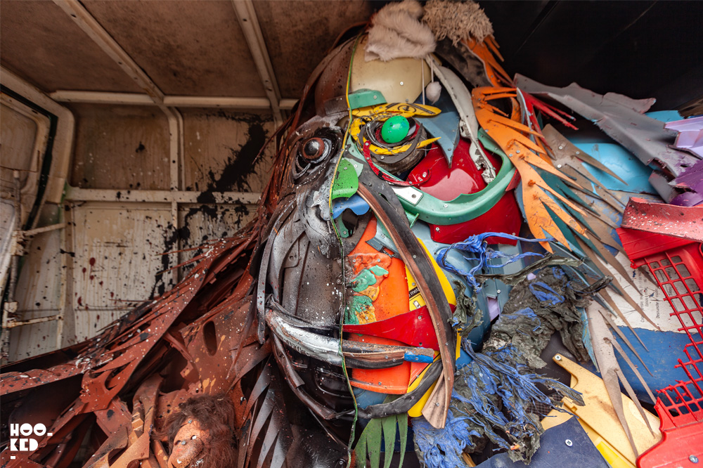 Street Artist Bordalo II work in London for Festival Iminente