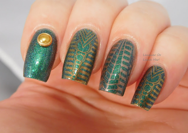 MoYou London Trend Hunder 08 over Blue-Eyed Girl Lacquer Green's Alexandrite With Me