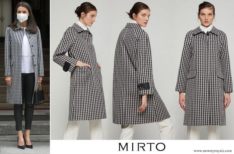 Queen Letizia wore Mirto Checked Waterproof Raincoat