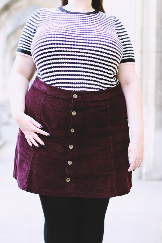 Plus size burgndy cord skirt