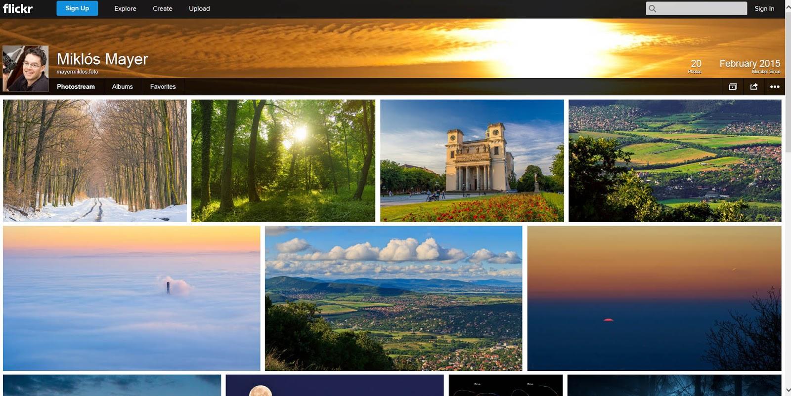 Flickr fiók képernyőképe