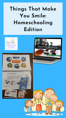 Text: Things That Make You Smile: Homeschooling Edition; clipart of family; photography laptop photo; photo of Page A Day Math materials; A Mom's Quest to Teach Logo