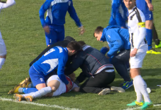 Popular footballer collapses, dies on pitch after being hit with ball [VIDEO]