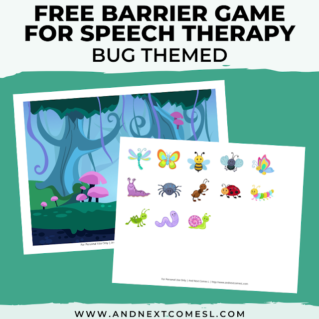 Free speech therapy barrier game: bug themed