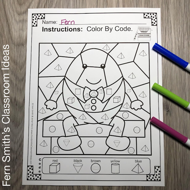 Color By Code Math Kindergarten Remediation Basic 3D Shapes Humpty Dumpty