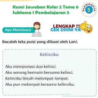 Kunci Jawaban Tematik Kelas 2 Tema 6 Subtema 1 Pembelajaran 5 www.simplenews.me