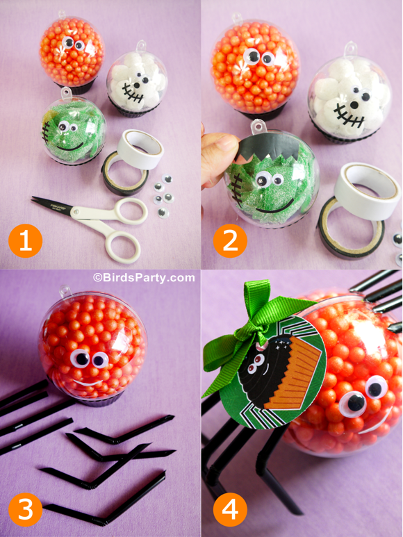 Halloween kids crafts diy little monster candy baubles for Halloween party favor ideas