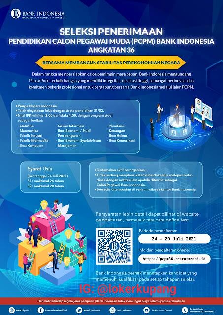 Lowongan Kerja PCPM Bank Indonesia Angkatan 36 Tahun 2021