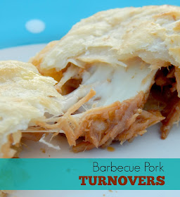 Barbecue Pork Turnovers...a 3-ingredient dough makes this stuffed turnovers flakey perfection!  Filled with delicious barbecue pork and cheese, you won't be able to put these down! (sweetandsavoryfood.com)