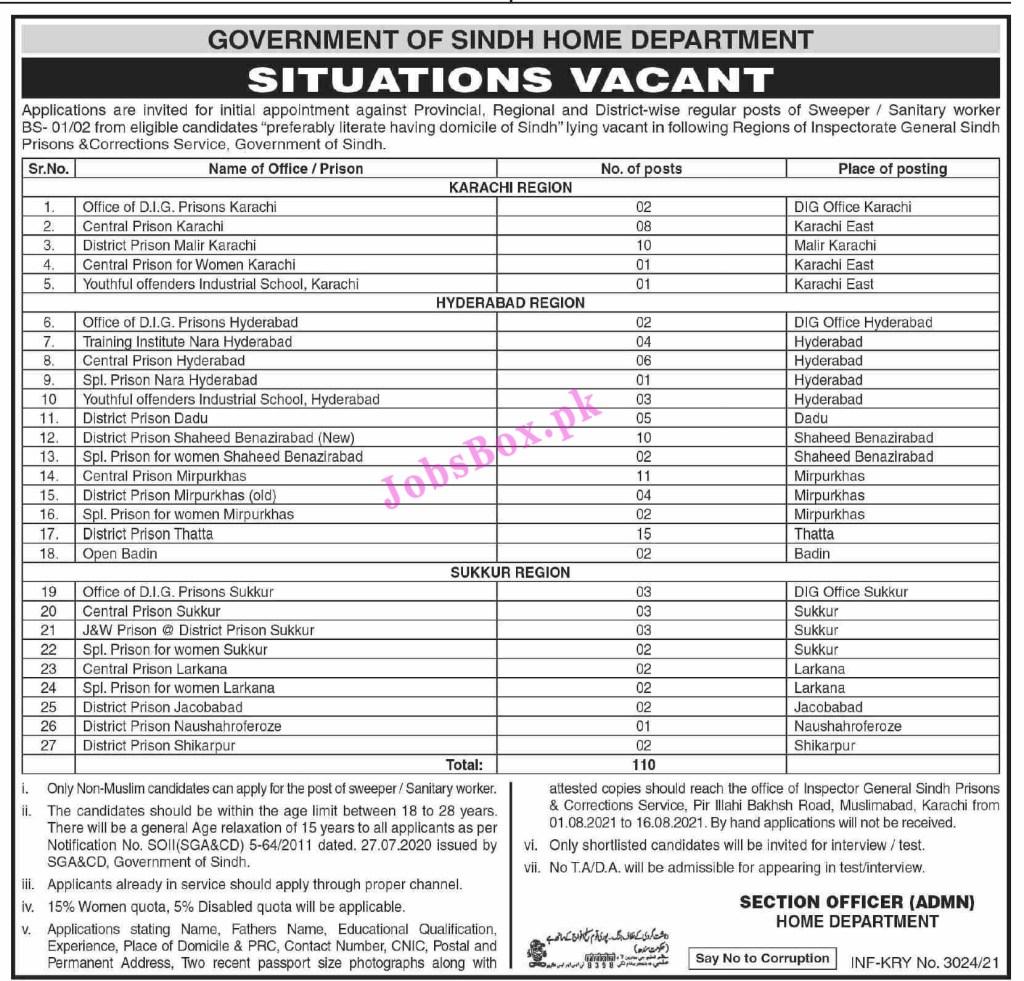 Home Department Sindh Jobs 2021 in Pakistan