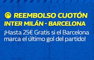 william hill Reembolso Cuotón Inter vs Barcelona 6 noviembre