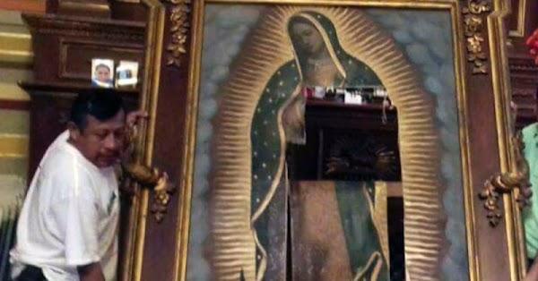 Señora protesta y destruye cuadro de la Virgen de Guadalupe en Catedral