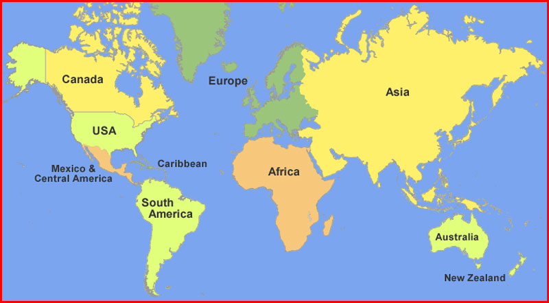 image: Location map of continents in the world
