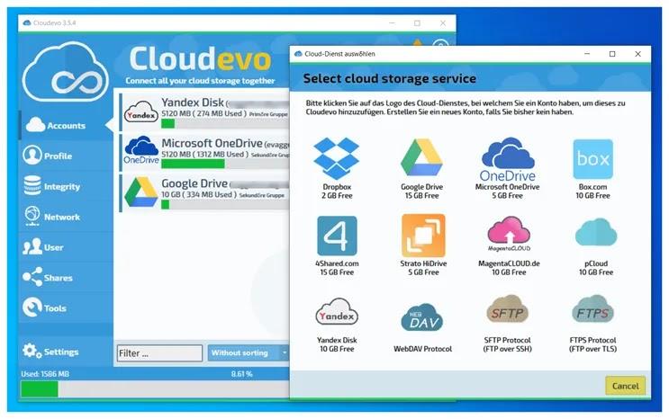 Cloudevo : Συγκεντρώστε τον αποθηκευτικό σας χώρο  σε ένα μεγάλο ενοποιημένο cloud