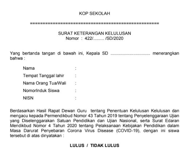 Contoh Surat Keterangan Kelulusan Siswa SD Tahun 2020