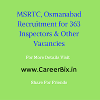 MSRTC, Osmanabad Recruitment for 363 Inspectors, Section, Soil Conservation & Research Officer, Legal Asst Vacancies