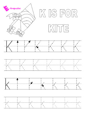 Letter K writing practice worksheet series of handwriting alphabet