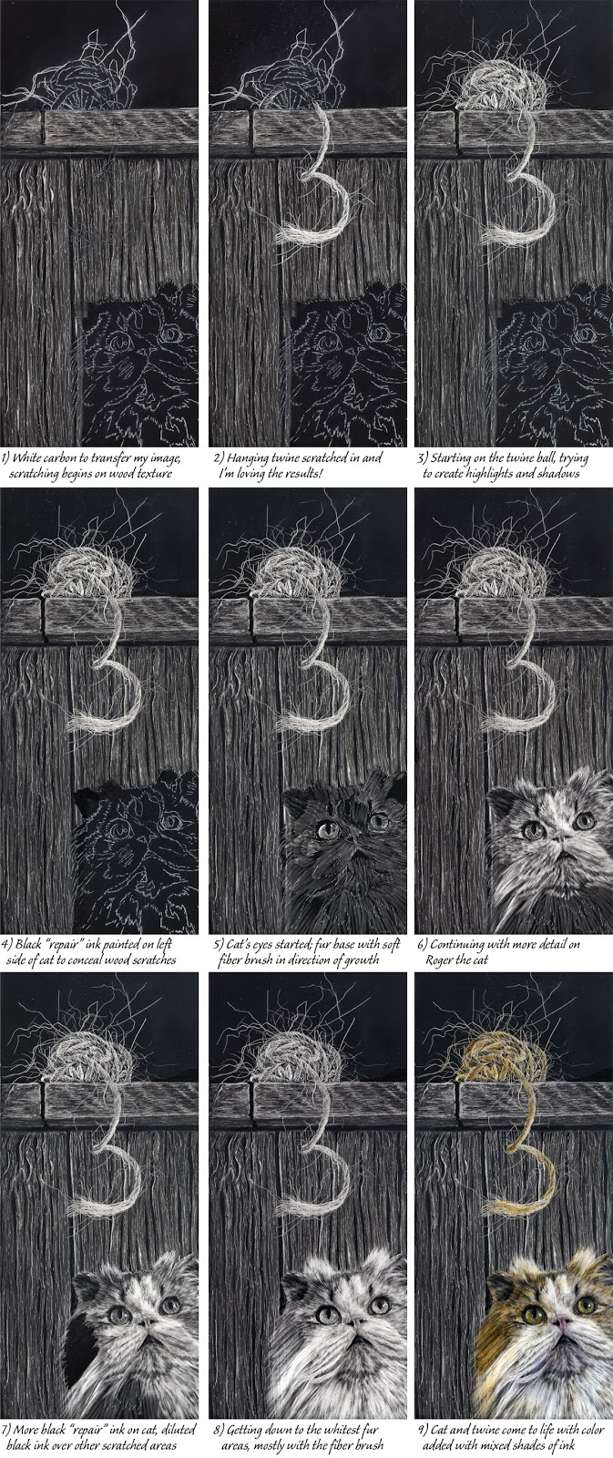 """Collage of steps to create """"Curious"""" by Judy Lavoie"""