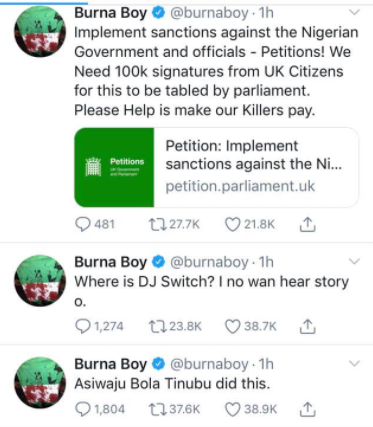 #LekkiTollgateShooting: I'm Working To Ensure That All Nigerian Officials Are Sanctioned - Burna Boy #Arewapublisize