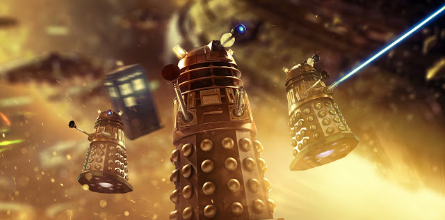 Daleks! Flying through a space battle blazing fire, huge Dalek saucers looming behind and the TARDIS whirling forward