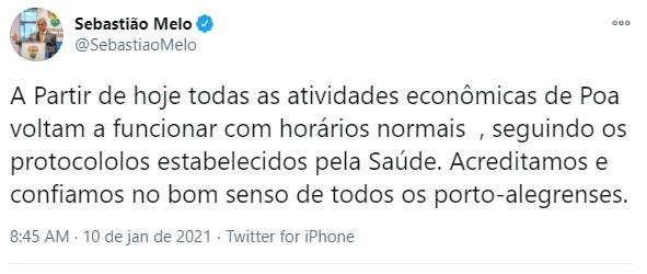 Todas atividades econômicas voltam a funcionar normalmente em Porto Alegre, anuncia prefeito