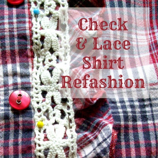 Check and lace shirt refashion