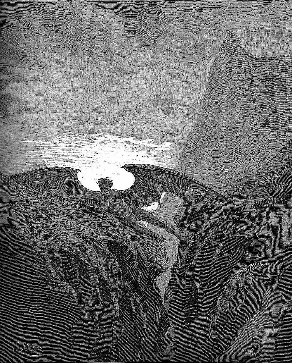 a Gustave Doré illustration of satan thinking
