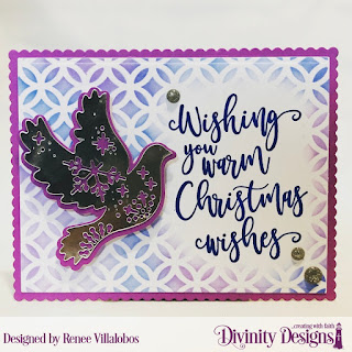 Stamp Set: Christmas Wishes, Custom Dies: Christmas Dove, Scalloped Rectangles, Mixed Media Stencils: Circles